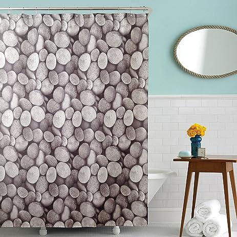 Waterproof Fabric Shower Curtains With 12 Metal Rings,100% Mildew Resistant  U0026 Antibacterial Pebbles