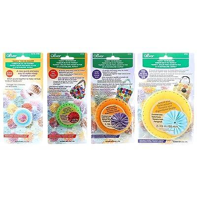 "Bundle of Four (4) Quick Yo-Yo Makers: Extra Small (makes 3/4\"" yo-yos), Small (makes 1.25\"" yo-yos), Large (makes 1.75\"" yo-yos), and Extra Large (makes 2-3/8\"" yo-yos): Arts, Crafts & Sewing [5Bkhe1801228]"