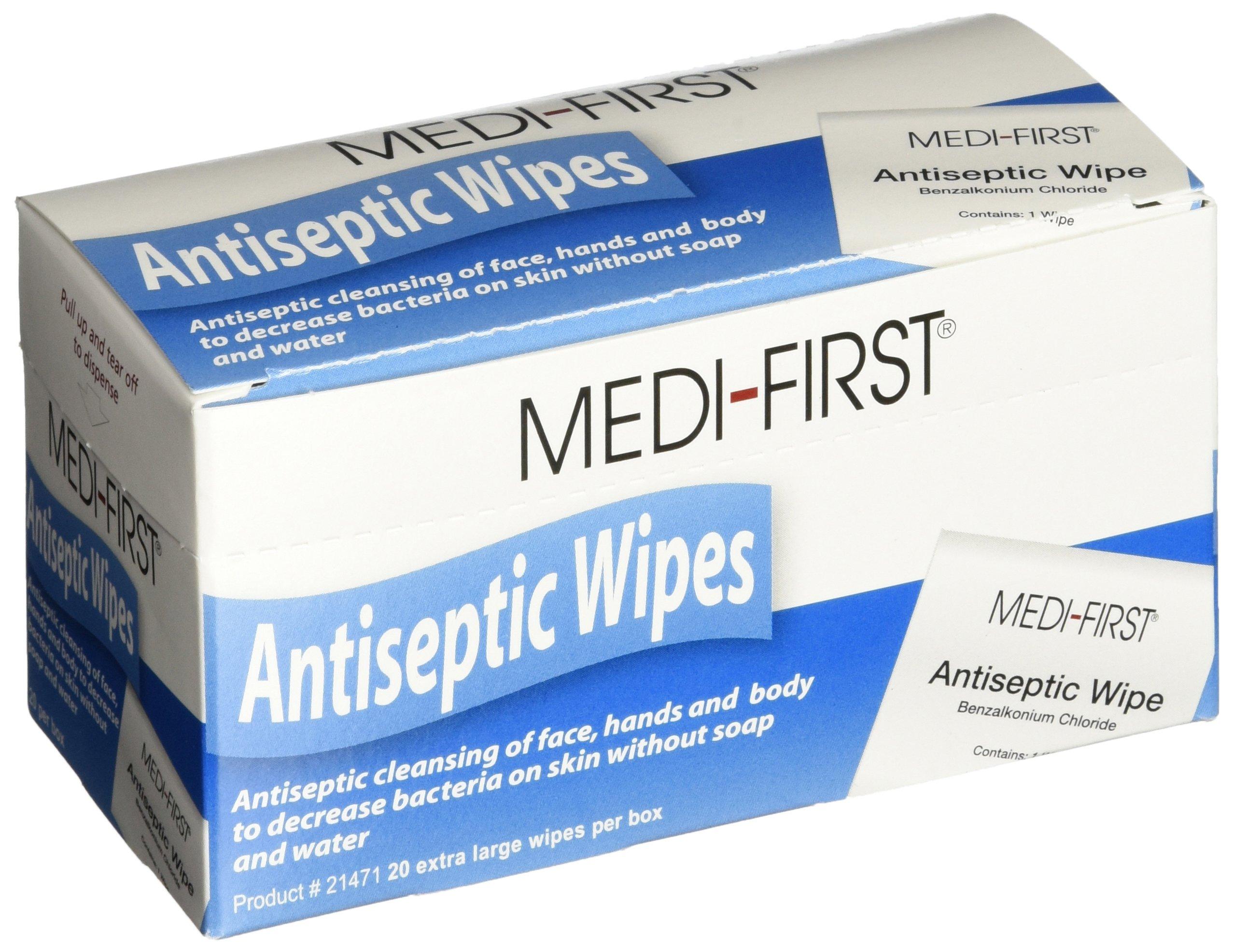 Medi-First 21471 Antiseptic Wipes, 20 Per Box