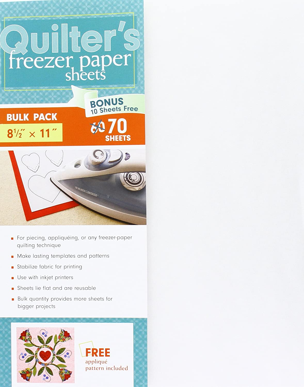 "C&T PUBLISHING C&T 8.5x11 70pc Quilter's Freezer Paper Sheet 8.5"" x 11"""