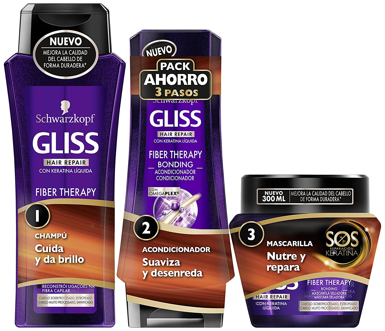 Gliss - Champú 250ml + Acondicionador 200ml + Mascarilla 300ml - Fiber Therapy - Schwarzkopf
