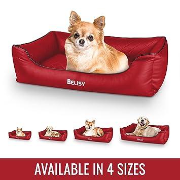 Cama para perro ortopédica Delta de Belisy, de piel sintética, cesta para perros en color rojo: Amazon.es: Productos para mascotas