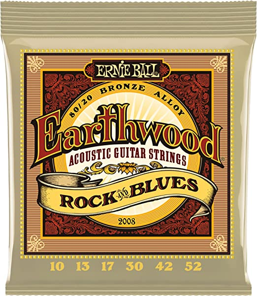 Ernie Ball Earthwood Rock y Blues w/Plain G 80/20 Cuerdas de guitarra acústica de bronce - 10-52 Gauge.
