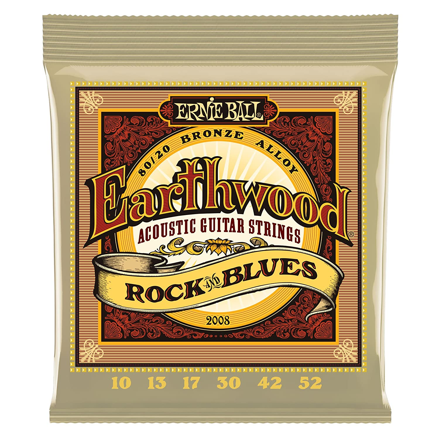 Ernie Ball 2008 Earthwood Rock and Blues 80/20 Bronze Acoustic String Set with plain G (10-52) Ernie Ball Music Man P02008