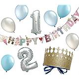 ハーフバースデー 誕生日 飾り付け 1歳 2歳 男の子 飾り ガーランド パーティー 風船 クラウン(ボーイズ1・2)