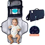 Waterproof, Portable Diaper Changing Pad – Changing Mat with Baby Wipes Pocket + 2 More, Shoulder & Baby Stroller Straps…