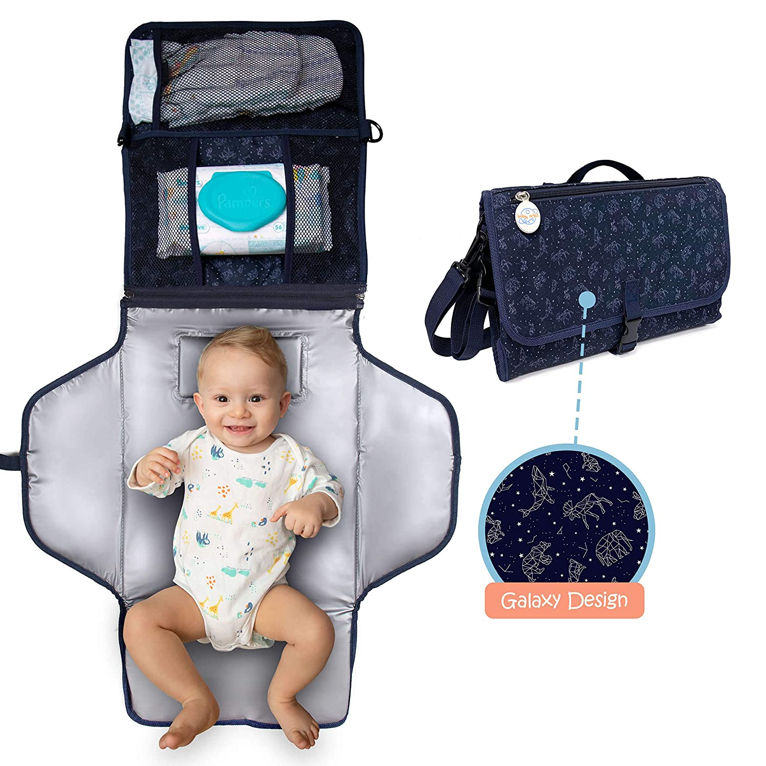 BabyOrbit Portable Diaper Changing Pad – Compact Waterproof Changing Mat – Blue Baby Changing Pad with Memory Foam Pillow for Comfort – Zipper Pockets for Diapers, Wipes and Lotion