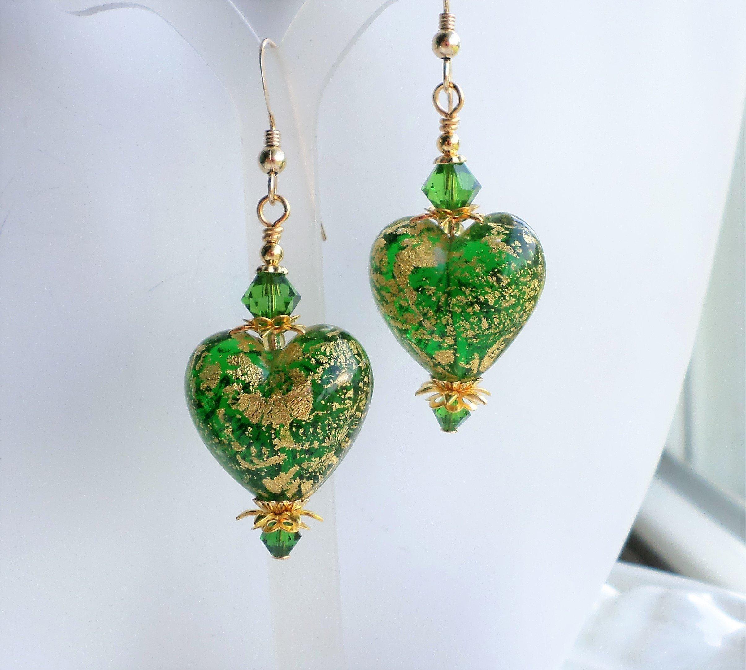 Murano Earrings, Green Murano Heart Earrings