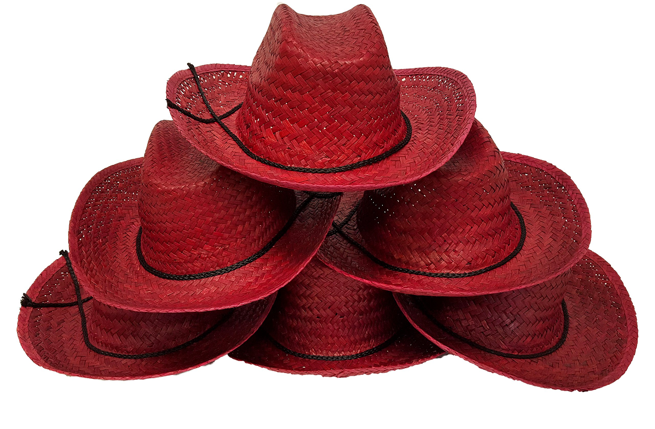 Cowboy Hats for Adults, Woven Grass Cowboy Hats, RED Color (12 Piece Pack) by Dondor