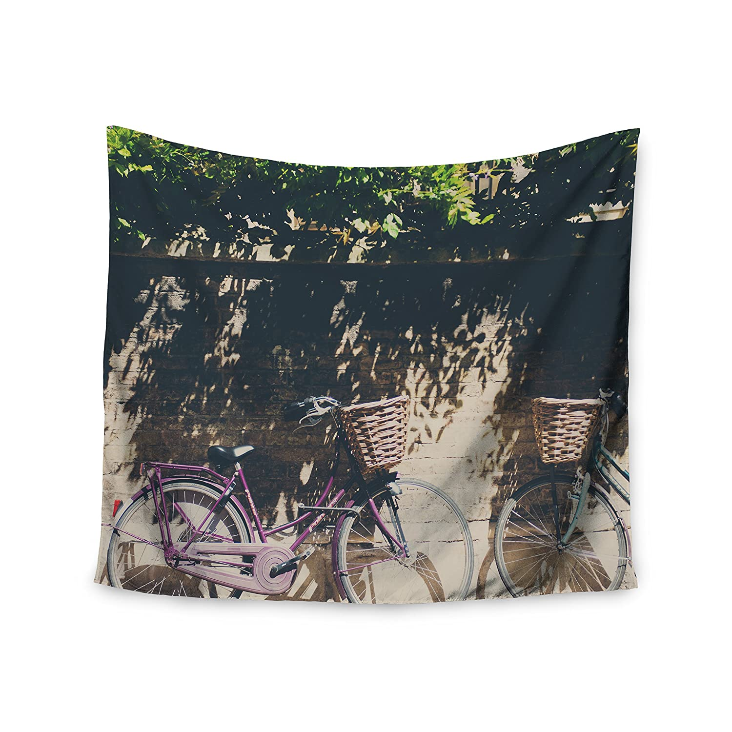 68 X 80 Kess InHouse Laura Evans Pretty Bicycles Brown Green Wall Tapestry