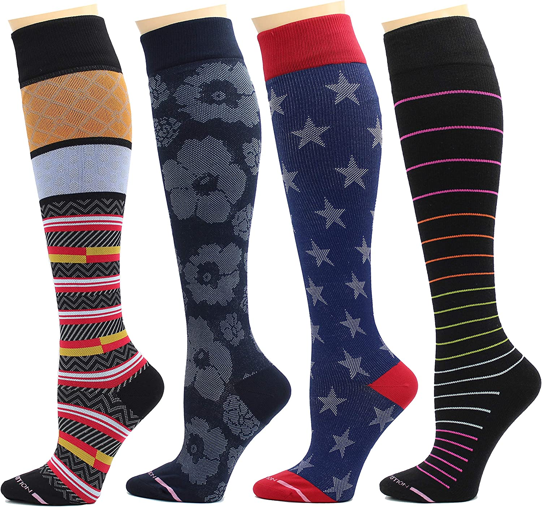 4 Pairs Rexx Therapeutic Graduated Compression Womens Knee-hi Socks