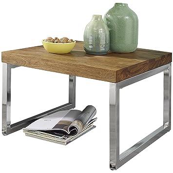 Wohnling Beistelltisch Guna Massiv Holz Sheesham Wohnzimmer Tisch