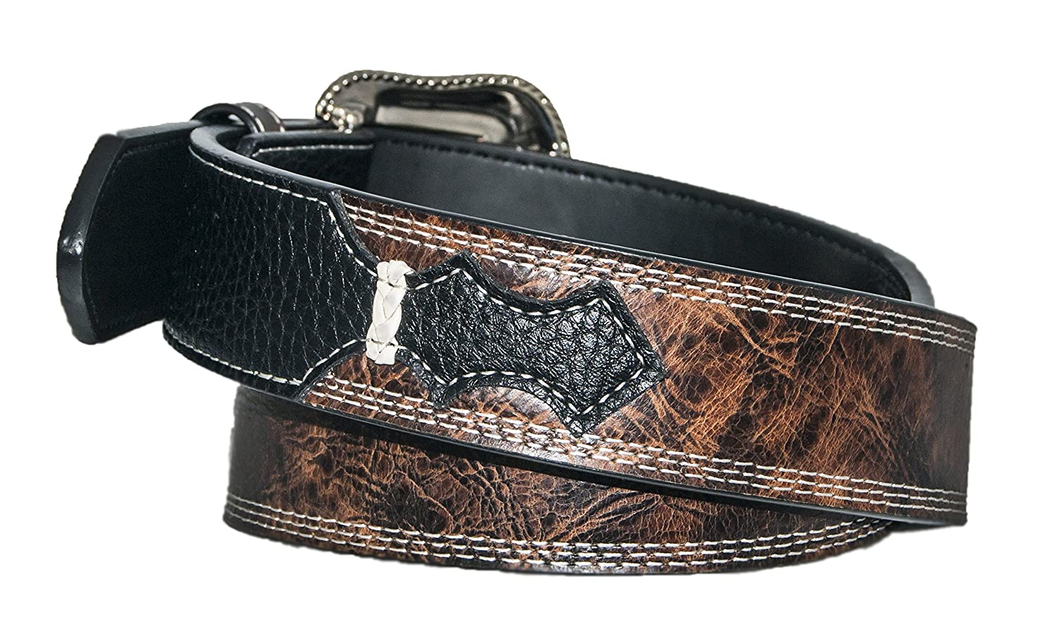 Black Brown Mens Leather Belt with Triple Accent Stitch by Silver Canyon