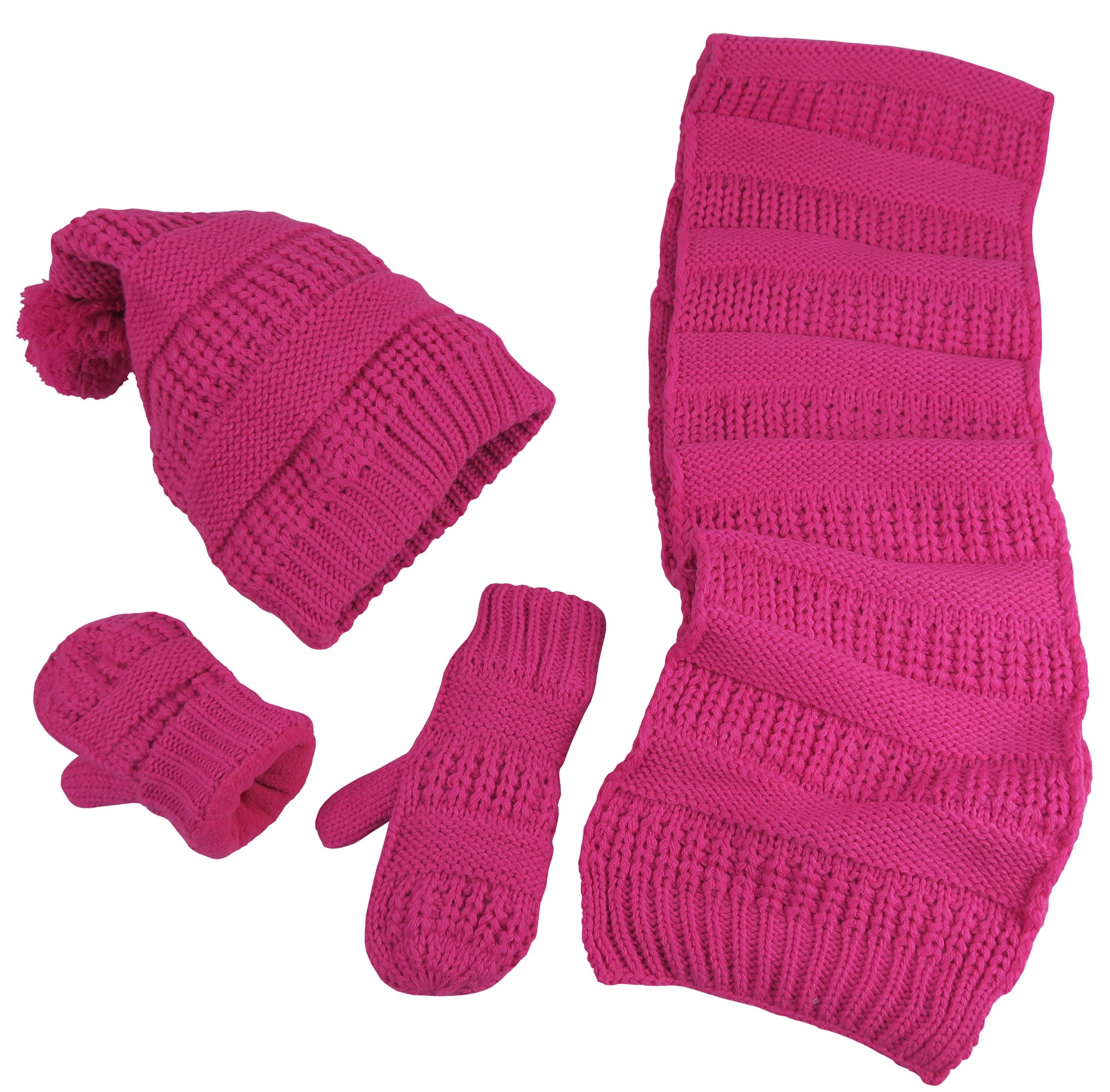 N'Ice Caps Little Girls and Infants Solid Cable Knit Hat/Scarf/Mitten Accessory Set (Fuchsia Solid, 4-6 Years)