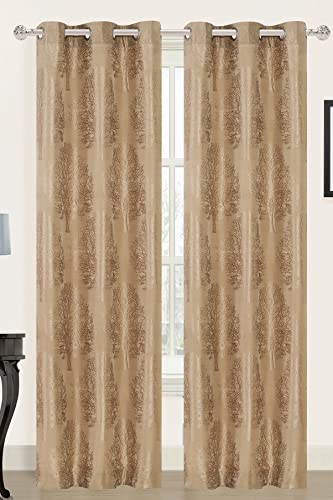 Dainty Home Tree of Life Grommet Window Panel Pair Set of 2 , 2 x 3884 , Latte