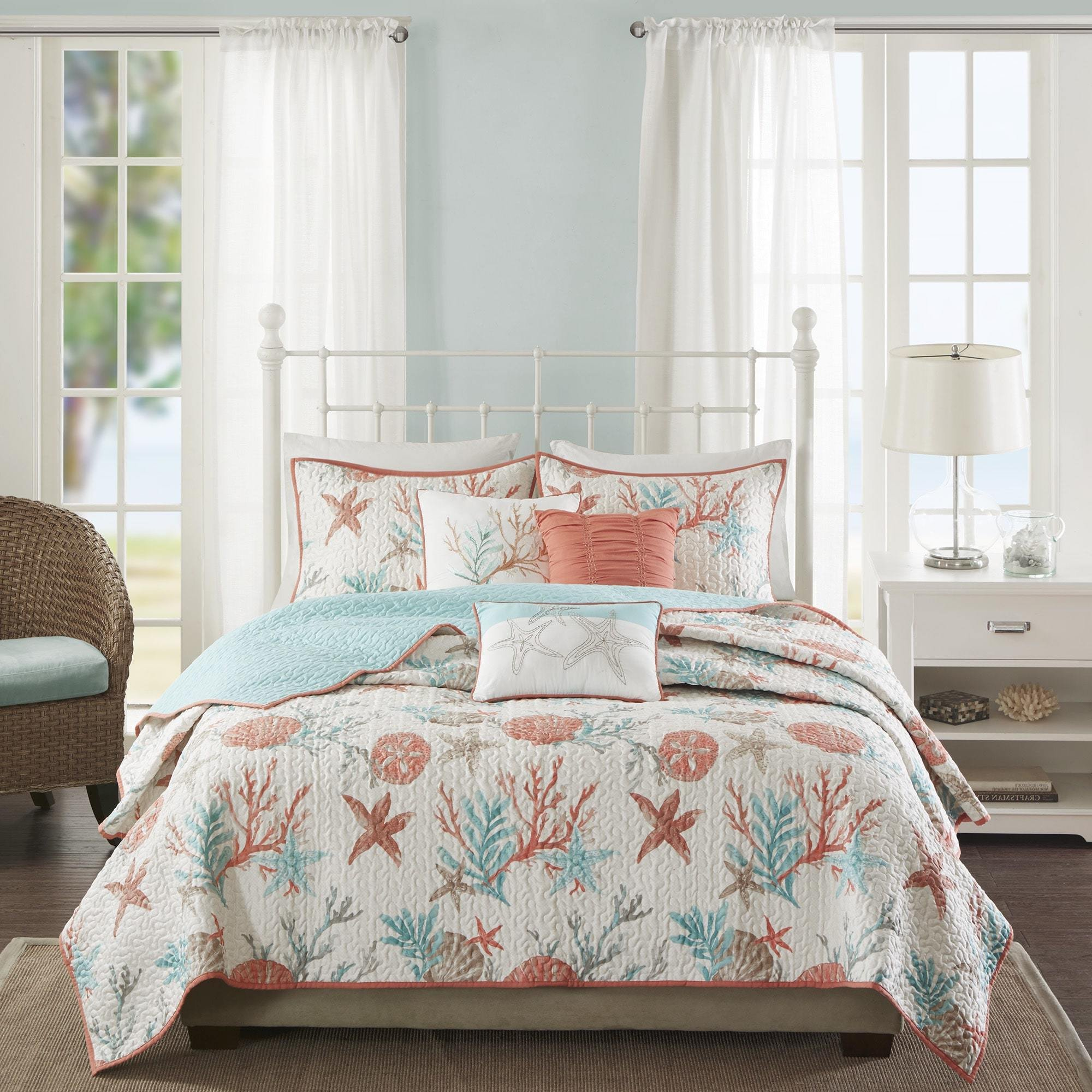 6 Piece Pink Coastal King/Cal King Size Coverlet Set, Beautiful Quilted Beach House Themed Bedding Coral Reefs Sea Shell Star Fish Ocean Vacation Sand Nautical Lake Cottage, Cotton