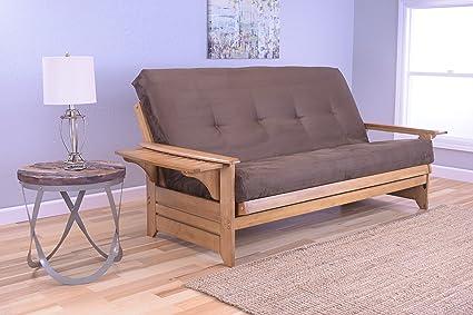 Amazon.com: Phoenix Full Size Sofa Futon, Butternut Wood Frame With ...
