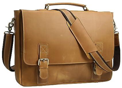 39d4a30bc1 Iswee Crazy Horse Leather Men s Messenger Bag Vintage Briefcase Fit  16 quot  or 17 quot  Laptop