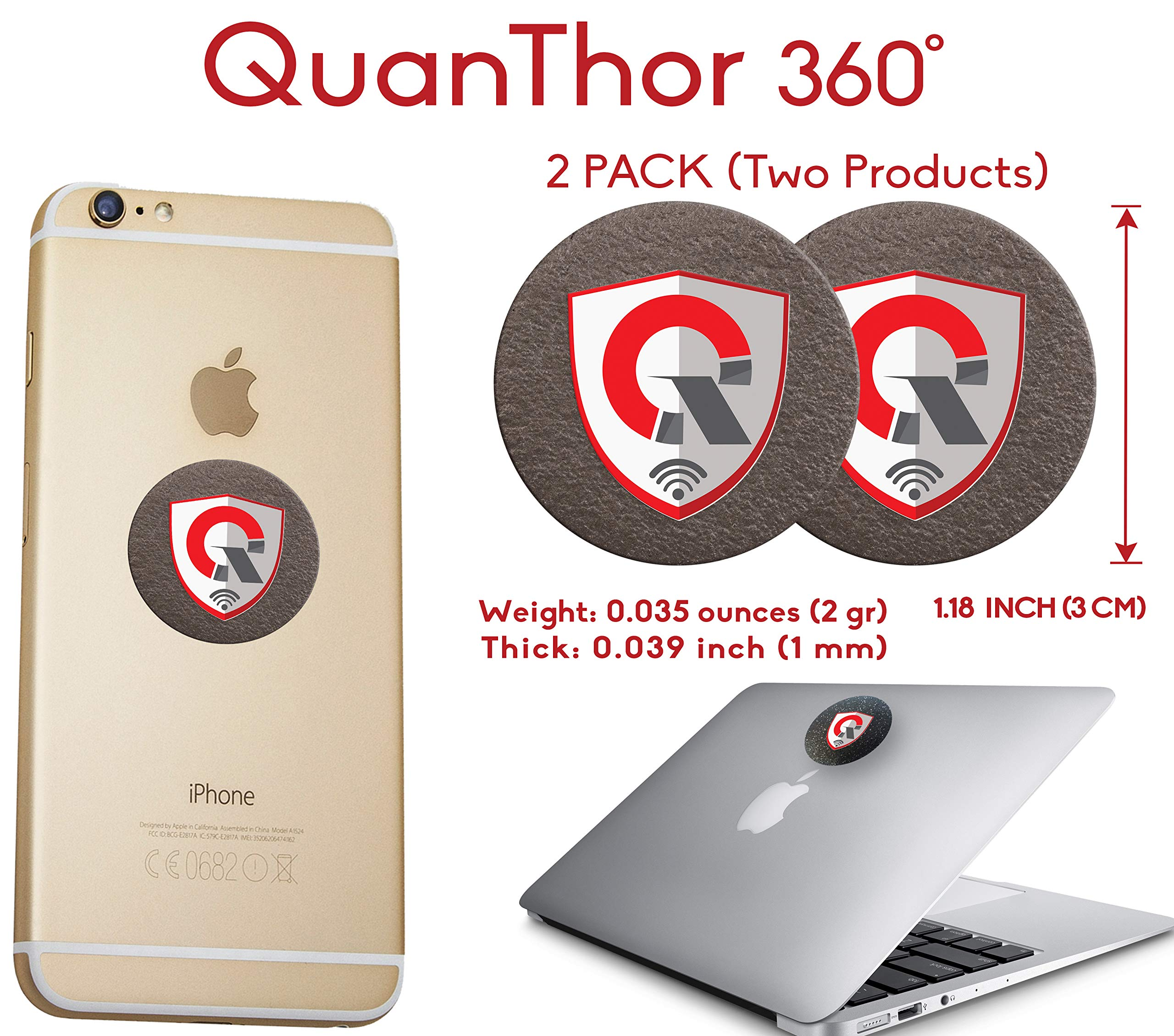 2Pack: 360 Round EMF Protection Cell Phone Tesla Technology: EMF Absorption from WiFi, Laptop - All Bad EMF Devices| Negative Ion Generator| Radiation Blocker Shield, EMF Blocker Device (1.18 INCH) by QUANTHOR