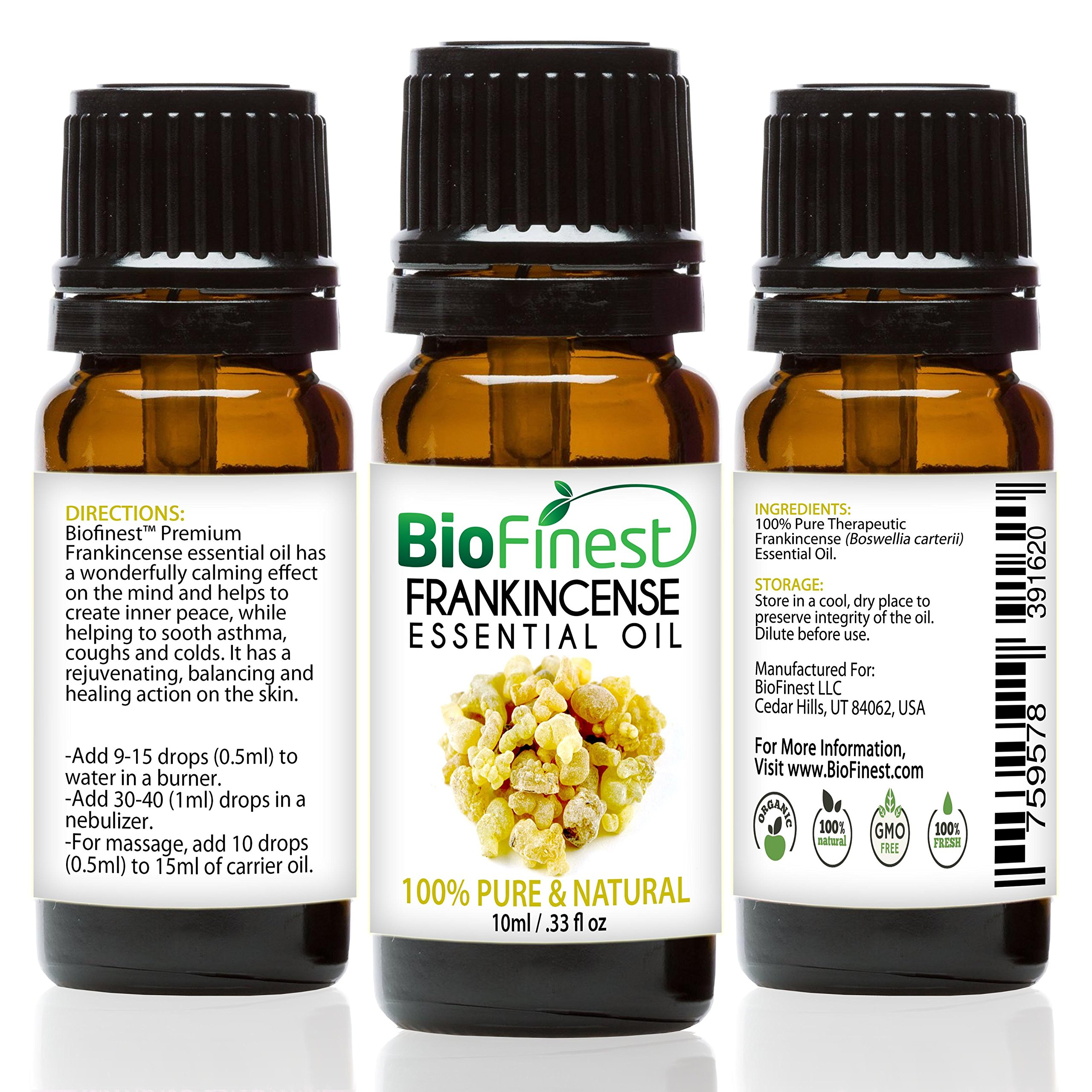 BioFinest Frankincense Oil - 100% Pure Frankincense Essential Oil - Therapeutic Grade - Premium Quality - Best For Immune System, Wrinkles, Scars & Stretch Marks - FREE E-Book (10ml)