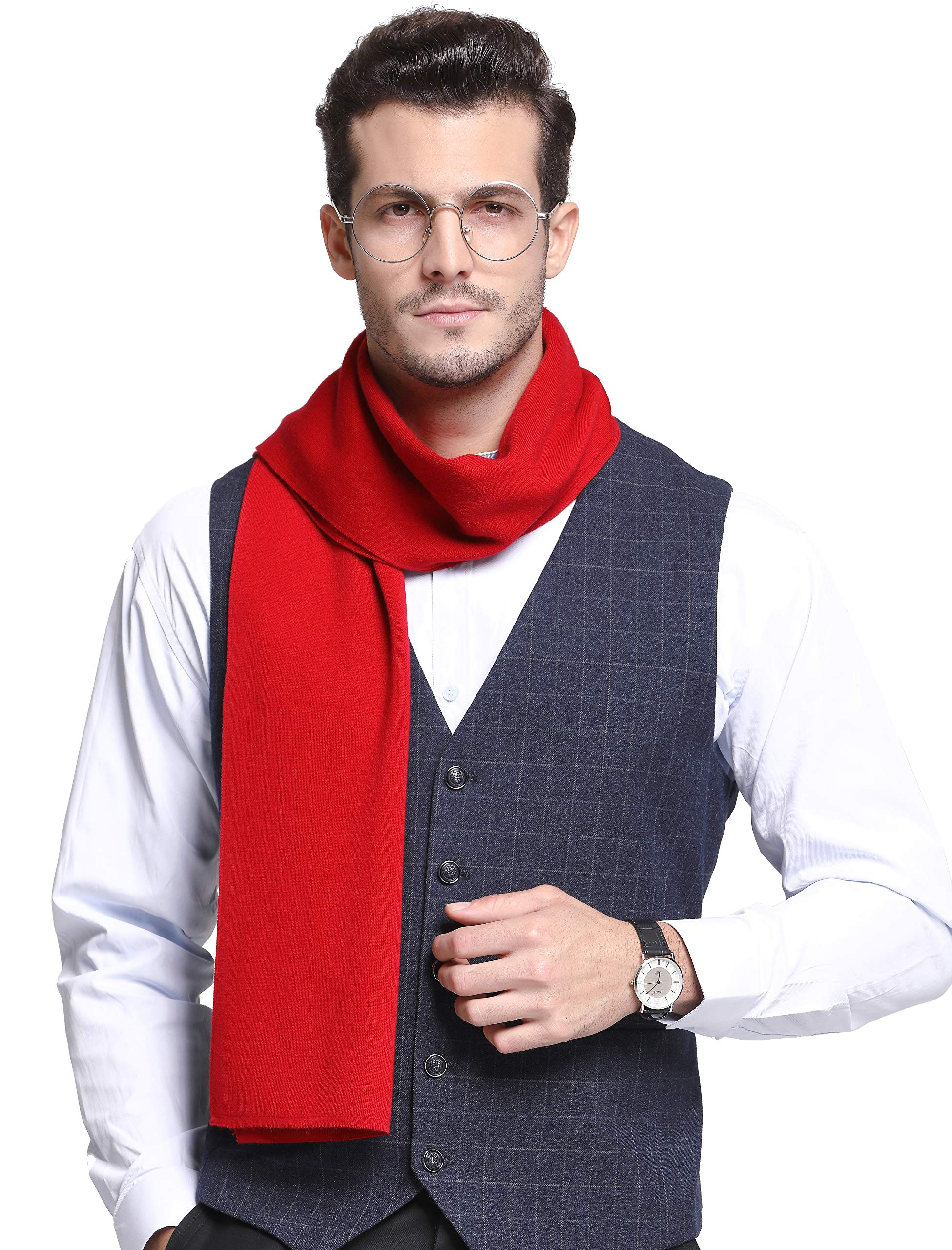 RIONA Men's 100% Australian Merino Wool Scarf Knitted Soft Warm Neckwear with Gift Box (9001_Bright Red)