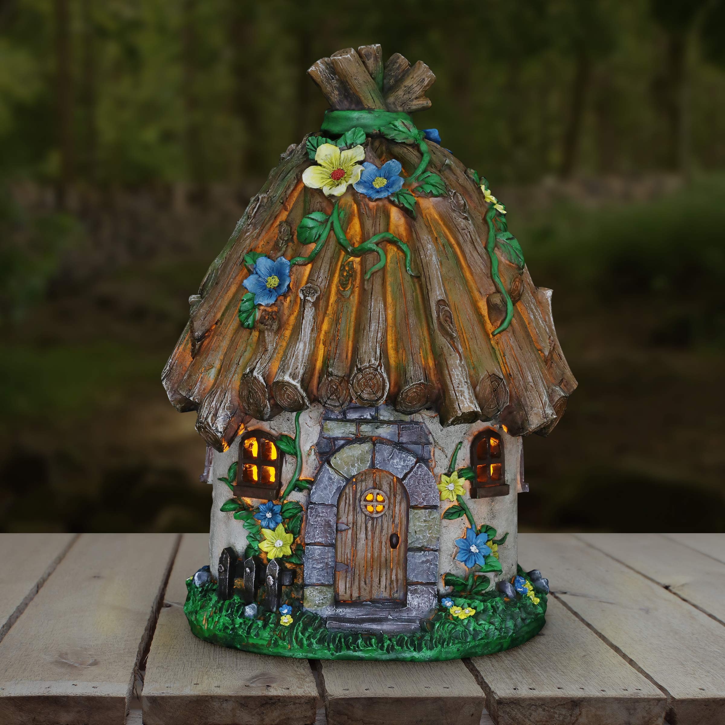 Exhart Twigs Roof Fairy House Outdoor Decor - Fairy Cottage Resin Statue with Solar Garden Lights, Miniature Fairy Hut Solar Home Decor for a Magical Fairy Garden, 9'' L x 9'' W x 15'' H by Exhart (Image #2)