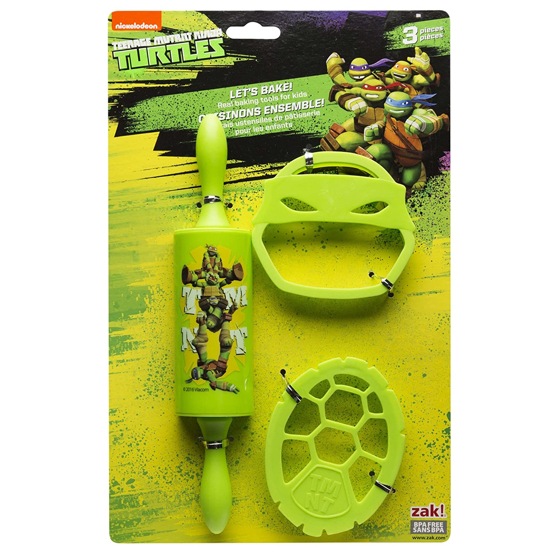 Zak Designs TNTR-S100 Ninja Turtles 3 Piece Kids Baking Set for Cookies, Decorated Nickelodeon