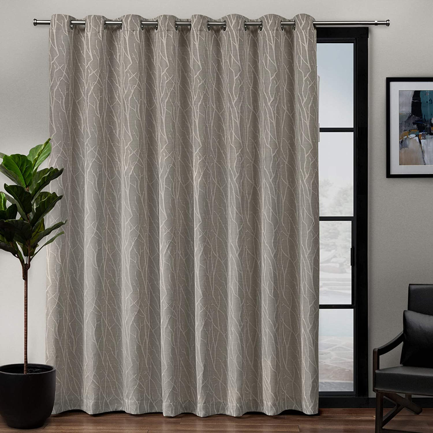 Exclusive Home Forest Hill Patio Woven Blackout Grommet Top Single Curtain Panel, Ash Grey, 108X84