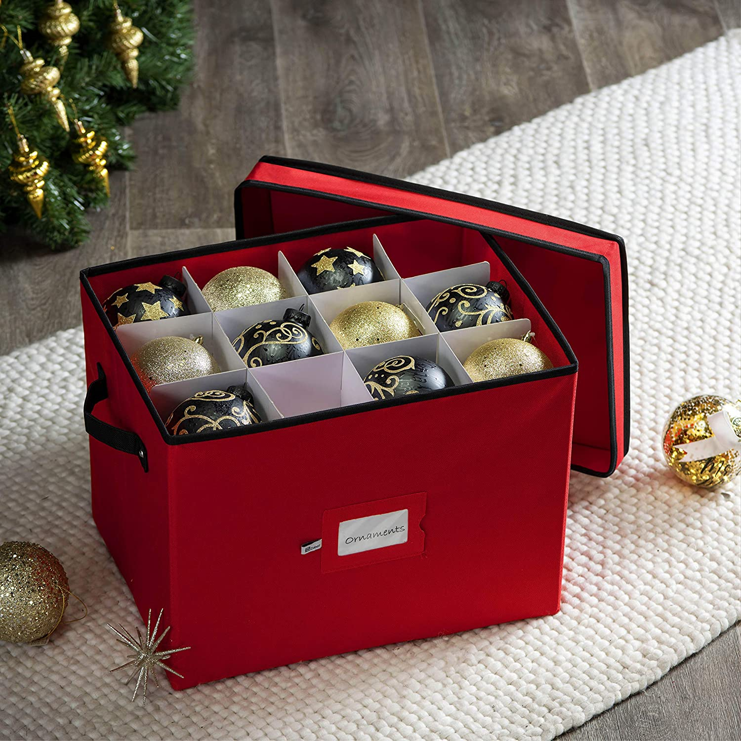 Ornament Storage Box Christmas Holiday Xmas Decors Cube Container Decorations
