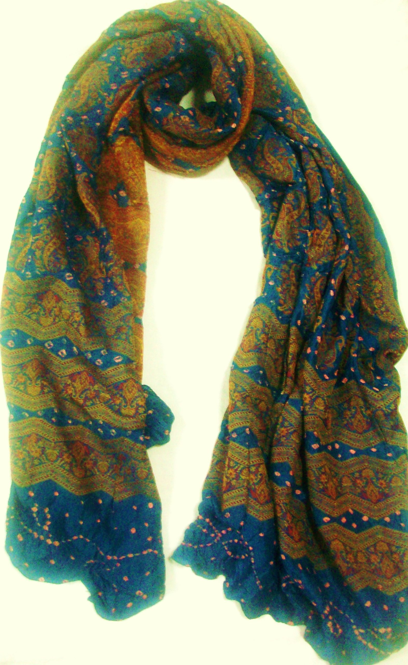 100% Silk, High Quality, Unique Designer Print Big Scarf, Hand Woven with Beautiful Border Accessory, Sofa Throw, Ethnic Paisly Blue Beige Great Gift for Girls Women Ladies
