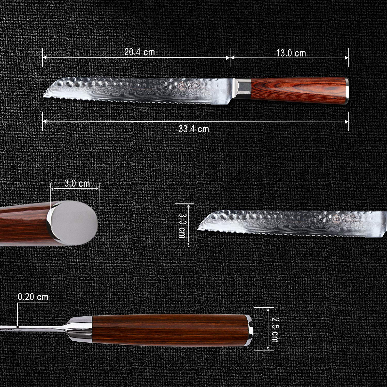 YARENH Cuchillo Pan 20cm,Cuchillos de Cocina Profesionales de Acero de Japones Damasco,Mango de Madera Pakka,Cuchillo de Chef Ultra Filoso HYZ-Serie