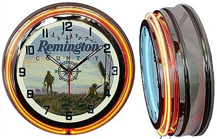 """Checkingtime 19"""" Remington County - Reloj de neón, Tubo Exterior Naranja, Dos Tubos"""