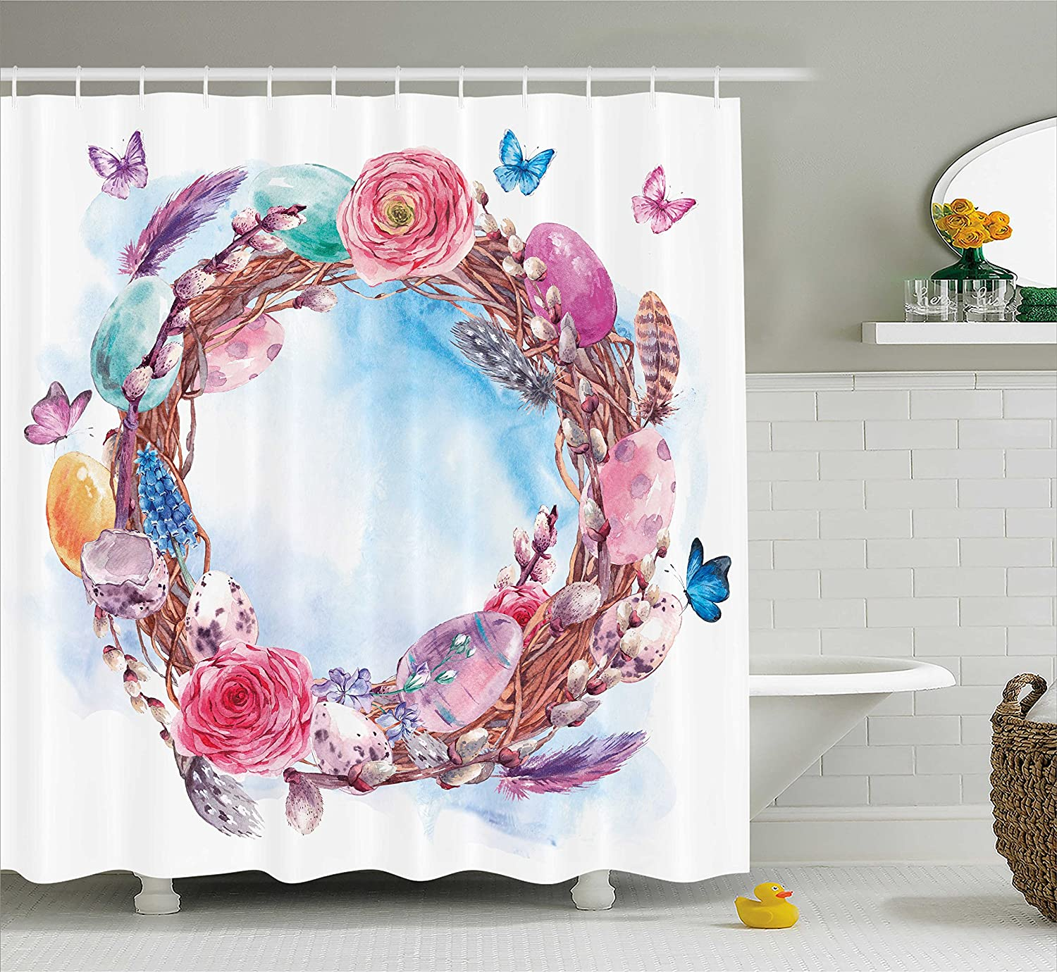 Ambesonne Spring Shower Curtain Floral Wreath With Branches Butterflies Feathers Happy Harvest Season Watercolor Art Fabric Bathroom Decor Set Hooks