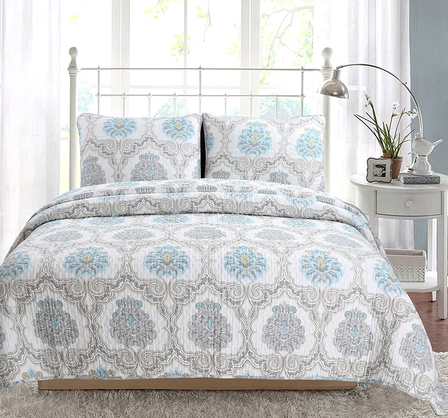Cozy Line Home Fashions Peace of Mind Bedding Quilt Set, Light Sky Blue Aqua White Grey Printed 100% Cotton Reversible Coverlet Bedspread for Women, (Phacelia, Queen - 3 Piece)