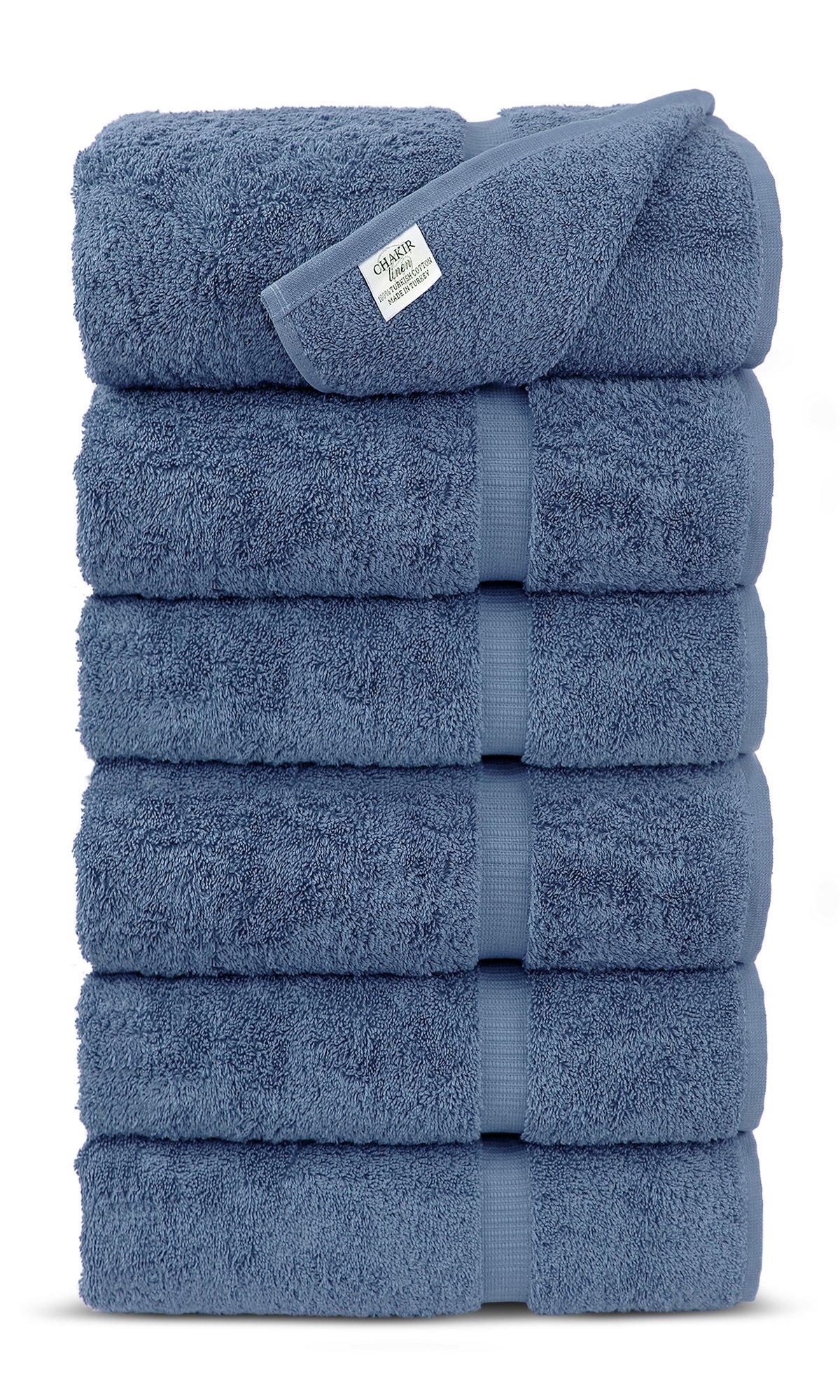 Luxury Premium long-stable Hotel & Spa Turkish Cotton 6-Piece Eco-Friendly Hand Towel Set (Wedgewood)