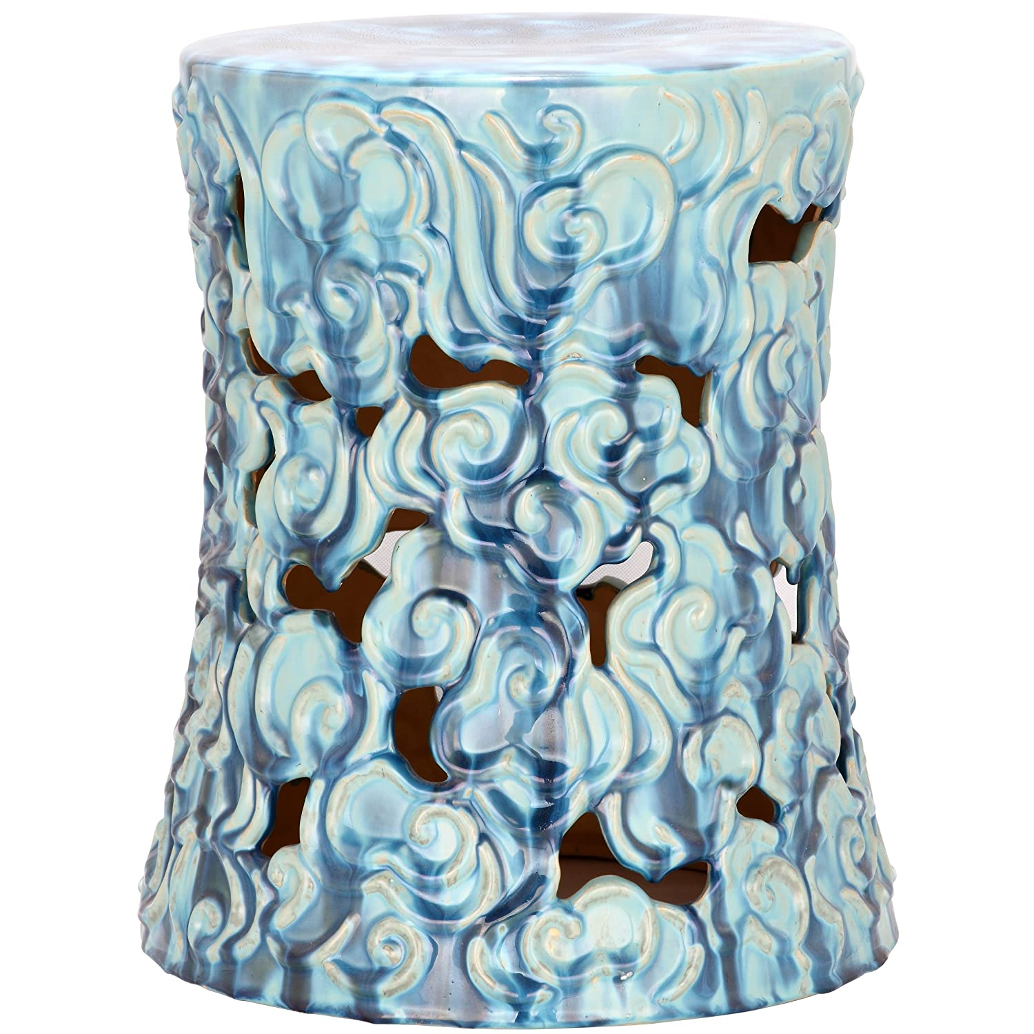 Good Amazon.com: Safavieh Castle Gardens Collection Cloud Ceramic Garden Stool,  17.75 Inch Height, Blue: Kitchen U0026 Dining