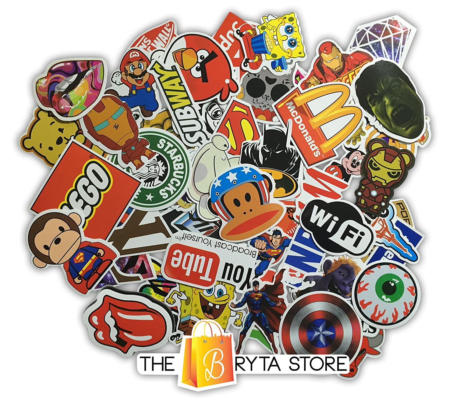 200 PREMIUM Stickers Decals Vinyls Perfect To Graffiti Your Laptop Bumper Pack of The Best Selling Quality Sticker Hard Hat Luggage Bike Car The Bryta Store Skateboard
