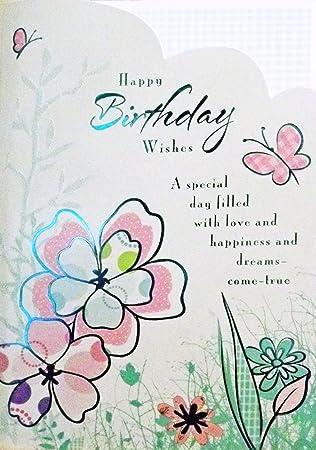 Tamano Grande Rosa Y Verde Feliz Cumpleanos Deseos Felicitaciones