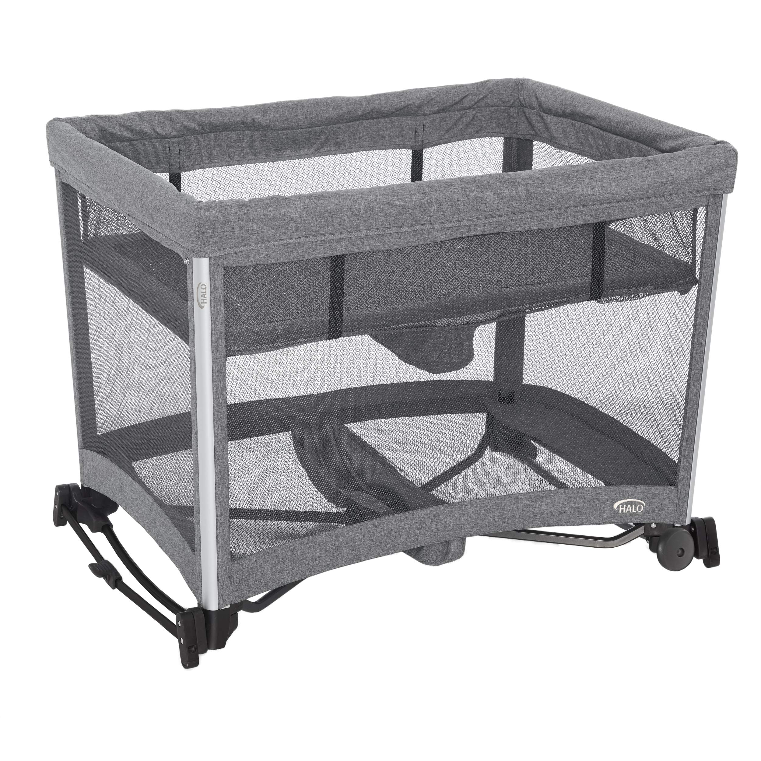 HALO 3-in-1 DreamNest Rocking Bassinet, Portable Crib, Travel Cot with Breathable Mesh Mattress by Halo