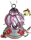 Grateful Gnome - Hummingbird Feeder - Hand Blown Glass - Caged Pink Flower - 16 Fluid Ounces