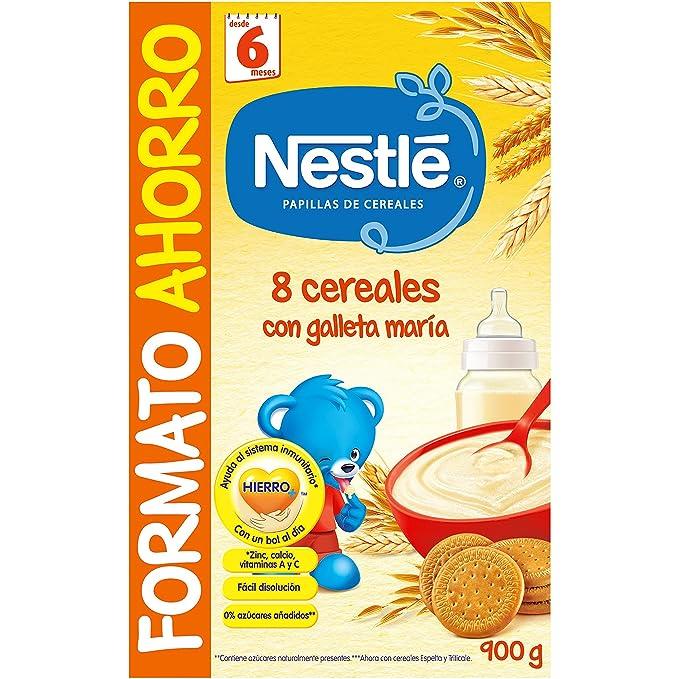 Nestlé Papillas - 8 cereales con Galleta María instantánea, a partir de 6 meses,
