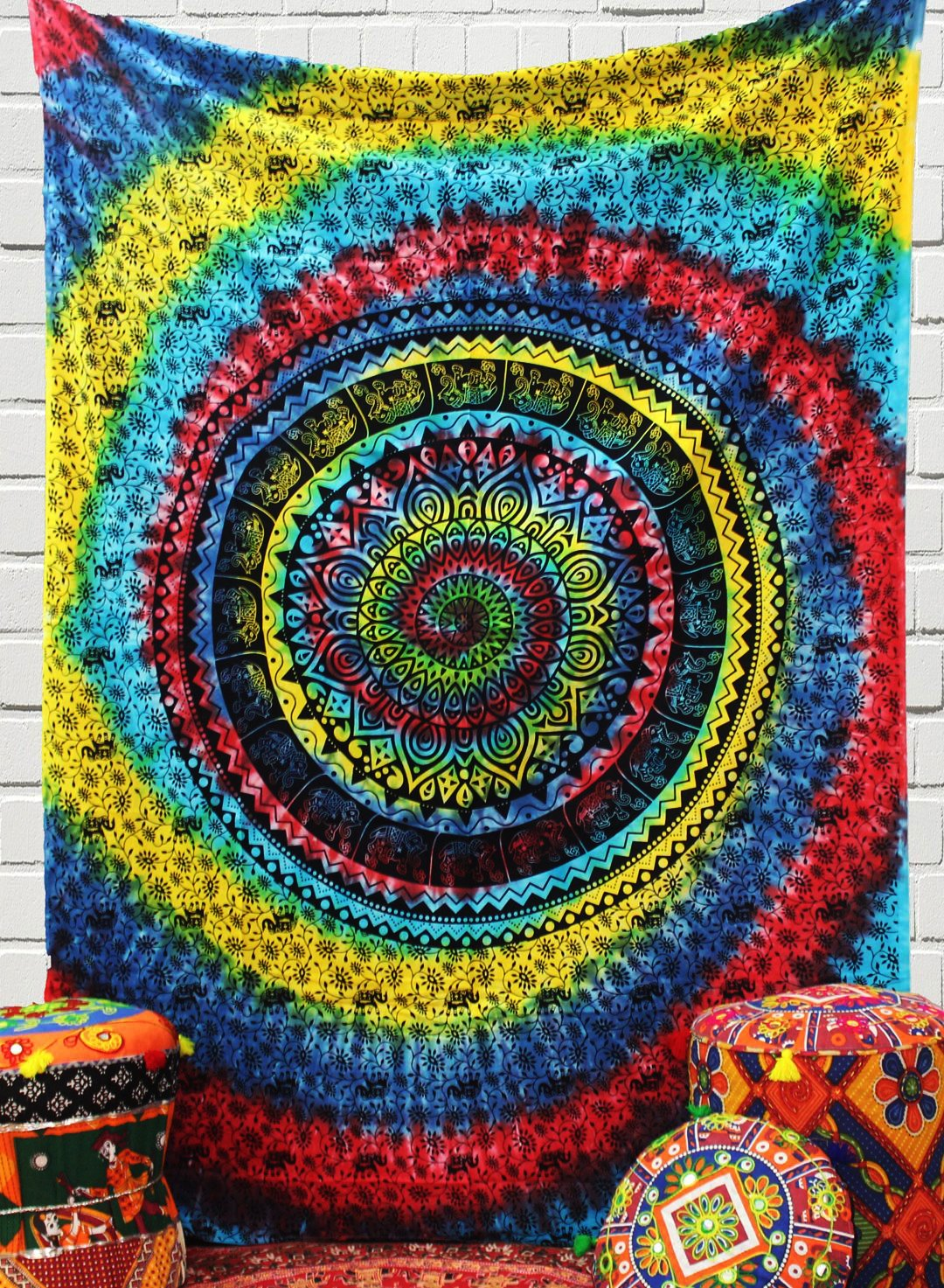 The Indian Craft Psychedelic Mandala Tapestry Bohemian Elephant Hanging Tie Dye Tapestries Hippie Wall Decor Twin Size Bedding Pure Cotton Home Decorative Table Cloth Cover Perfect Gift Option