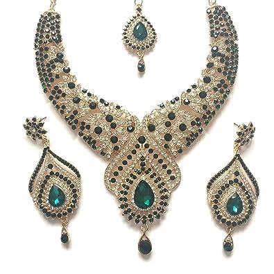Doré Inspiré Clouté Vert Bijoux Indien Cristal Bollywood Fantaisie 354RjAL