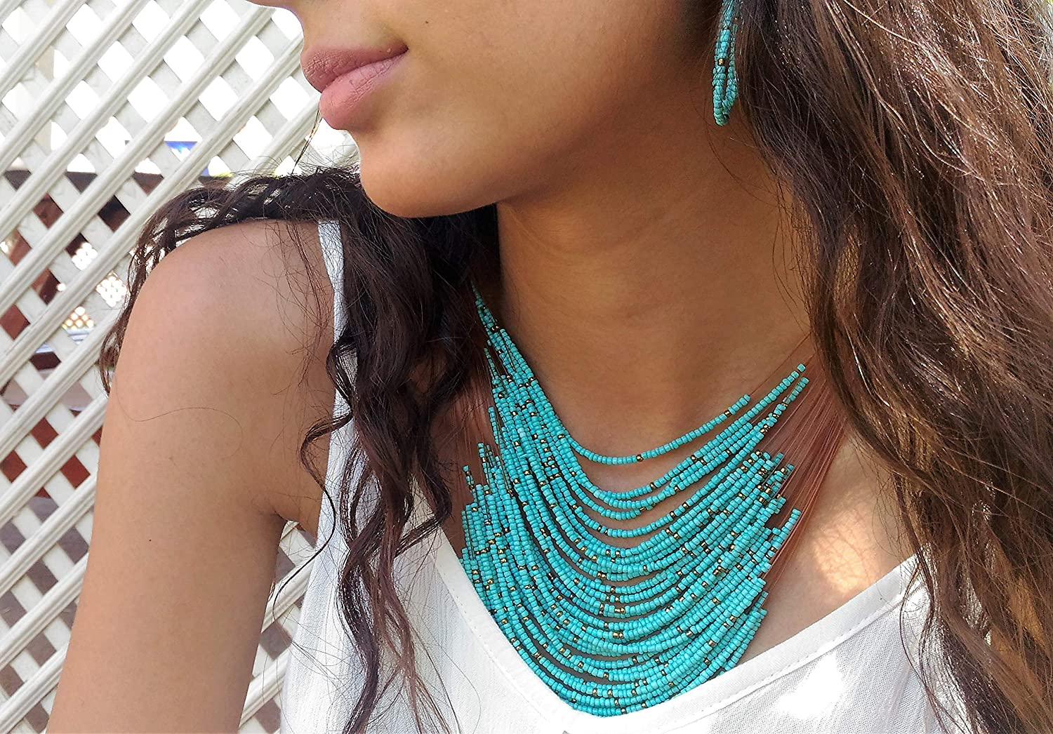 Turquoise Bead Necklace ~ Coin Necklace ~ Triple Strand Statement Necklace for Women ~ Magnesite Stone Jewelry ~ Necklace and Earring Set