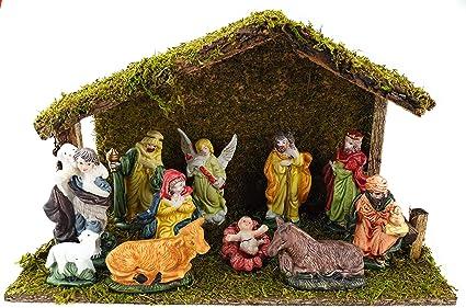 Bambelaa Nativity Scene Christmas 11 Pieces Nativity Figures Stable Amazon Co Uk Kitchen Home