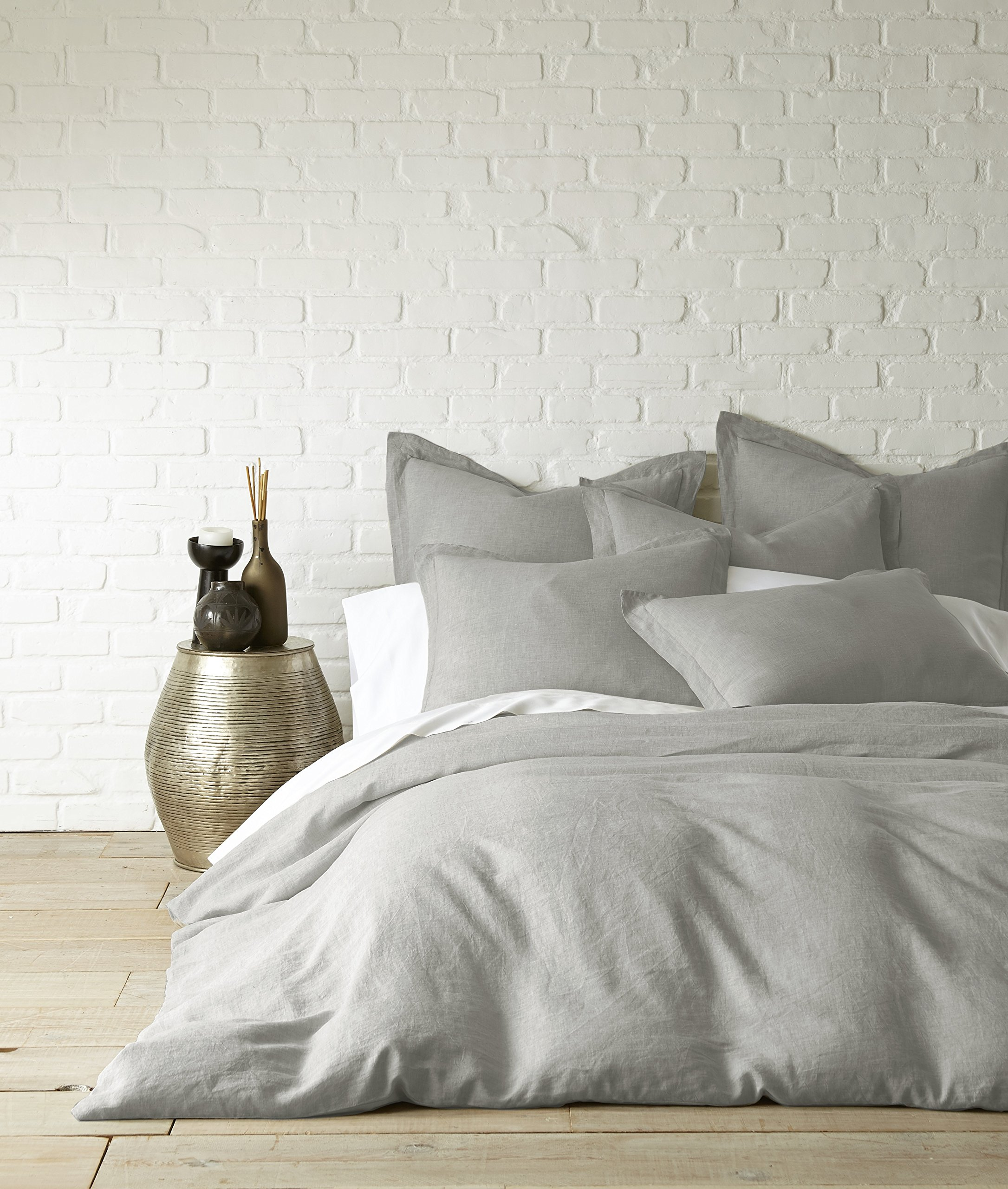 Washed Linen Light Grey King Duvet Cover