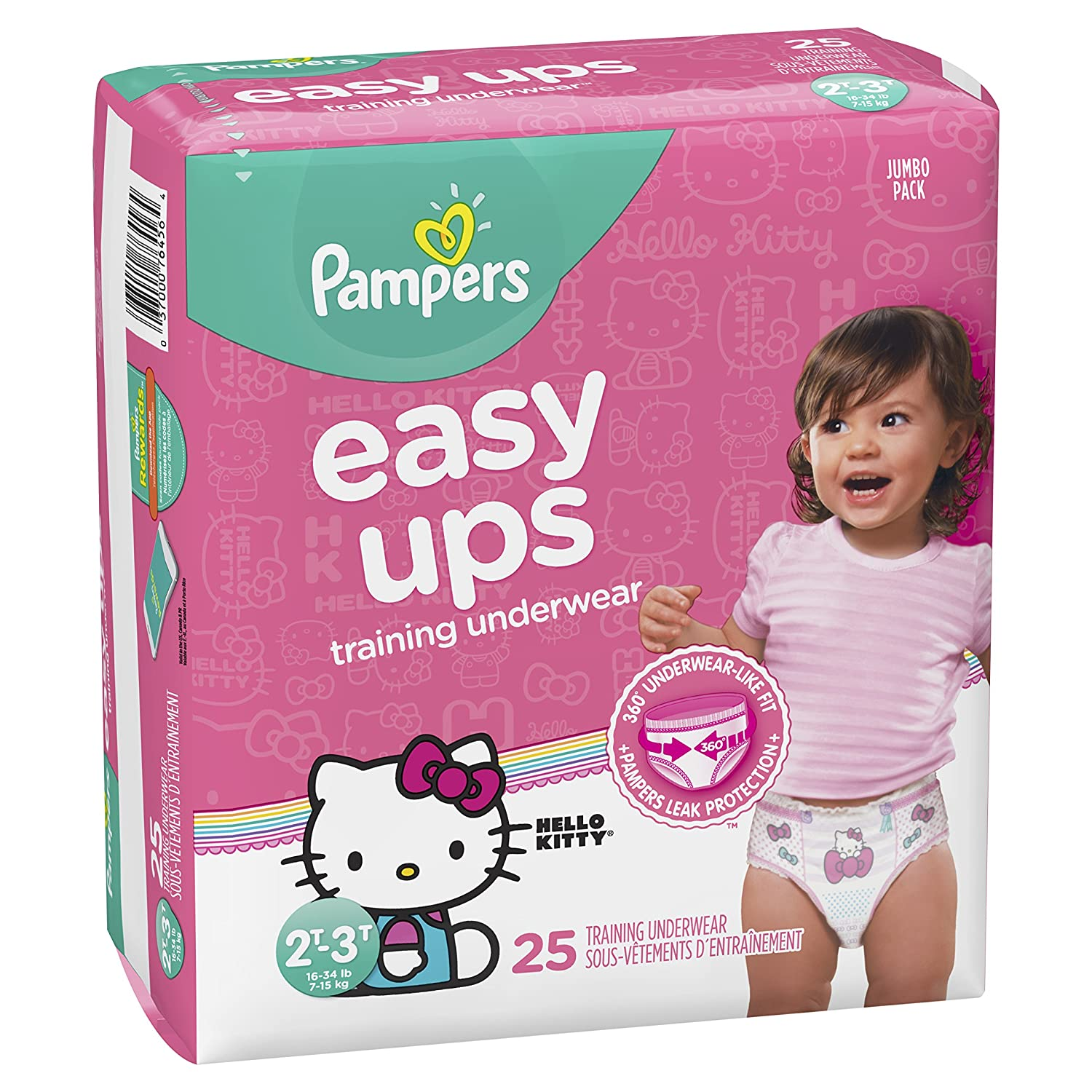 2T-3T SUPER PACK Pull On Disposable Training Diaper for Girls Pampers Easy Ups Diapers Size 4 80 Count