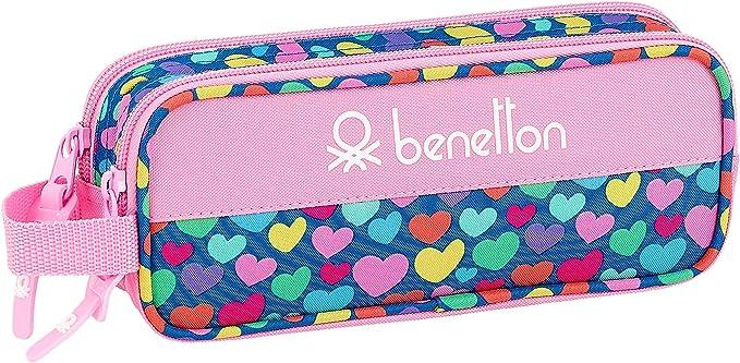 Benetton Cuori Estuche Portatodo Doble 2 Cremalleras Escolar, Multicolor: Amazon.es: Equipaje