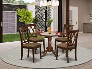 East West Furniture DLCL5-MAH-C 5-Pc Set Mahogany Finish-Two 9-inch Drops Leave and Pedestal Legs Modern Dining Table & 4 Double X-Back Wooden Chairs