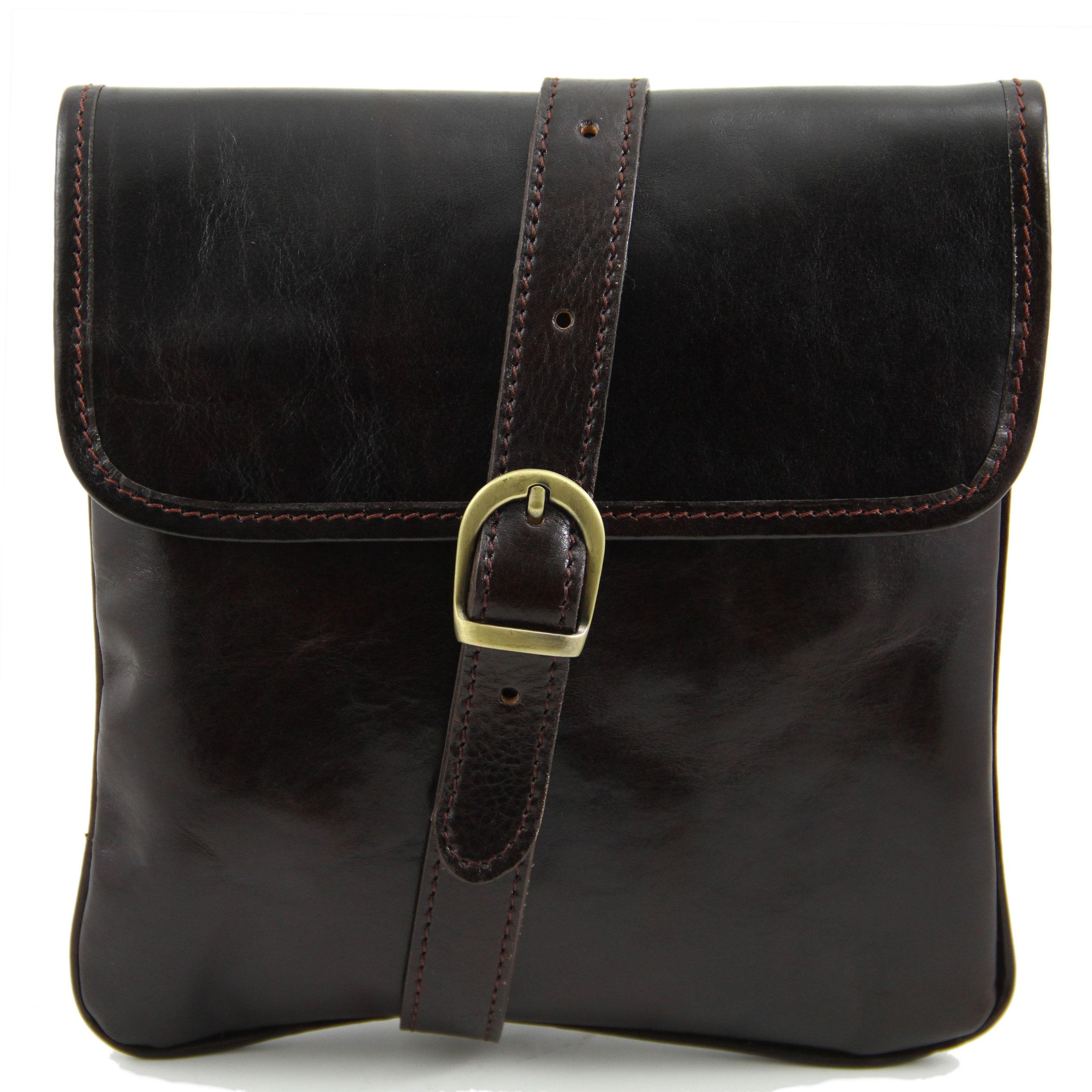Tuscany Leather Joe Leather Crossbody Bag Dark Brown Leather bags for men